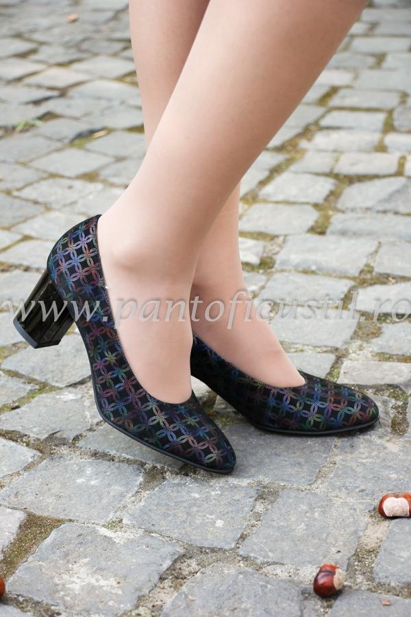 retailer online diverse stiluri design de top Pantofi Cu Toc Comod Din Piele Neagra Imprimata