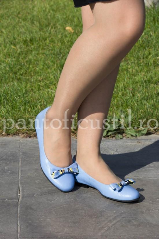 Balerini din piele bleu