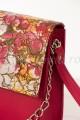 Poseta dama din piele fucsia- imprimeu floral