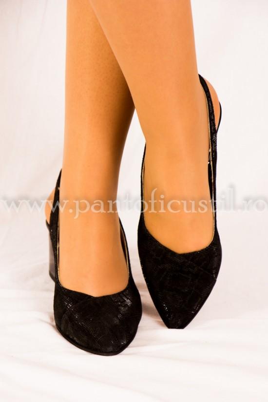 Pantofi cu varf ascutit si toc mic