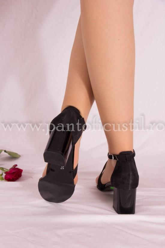 Sandale negre din piele cu toc gros de 6 cm
