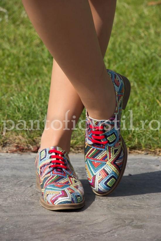 Pantofi dama multicolor din piele naturala comozi