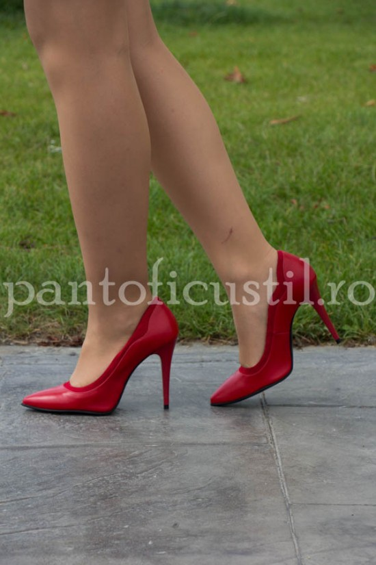 Pantofi stiletto din piele naturala rosie
