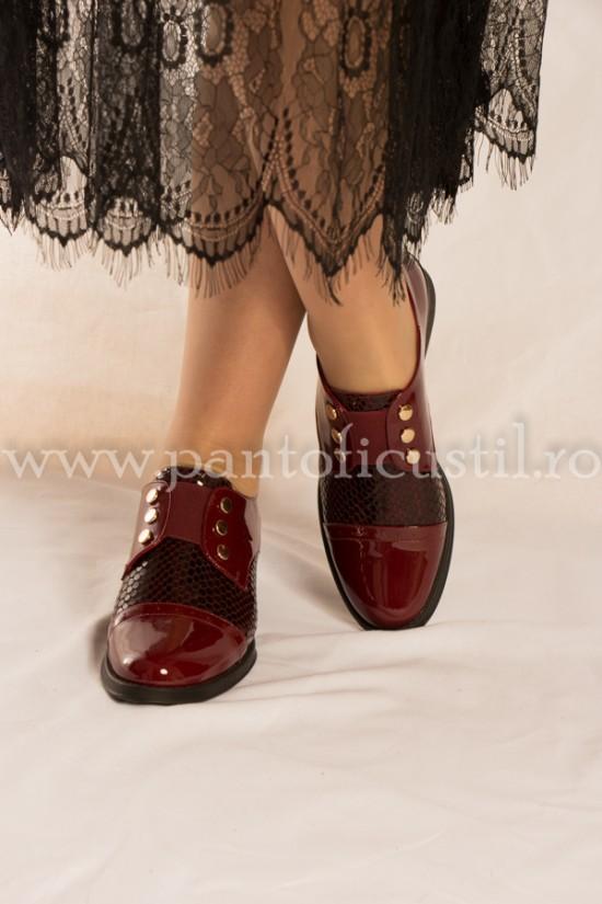 Pantofi dama piele lacuita visinii