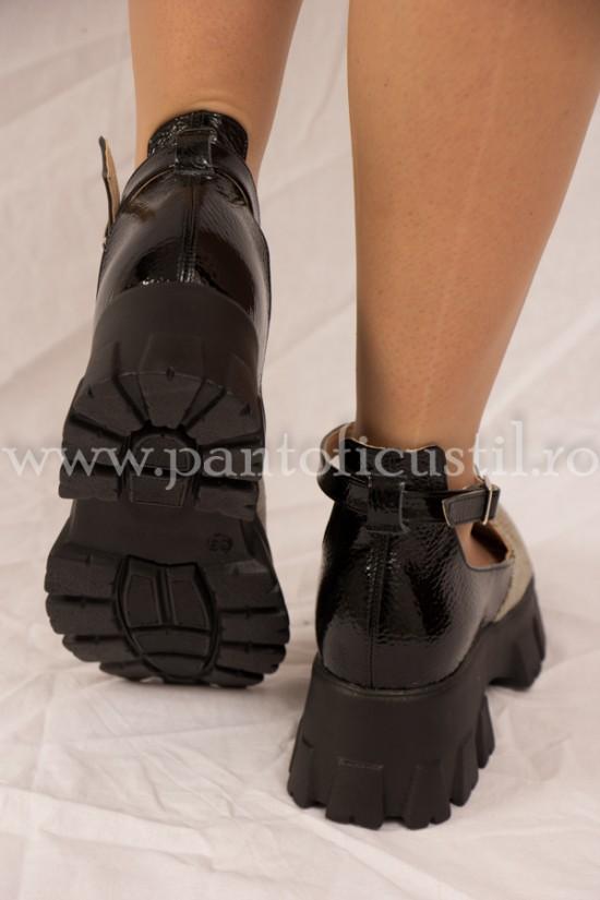 Pantofi casual cu talpa inalta din piele