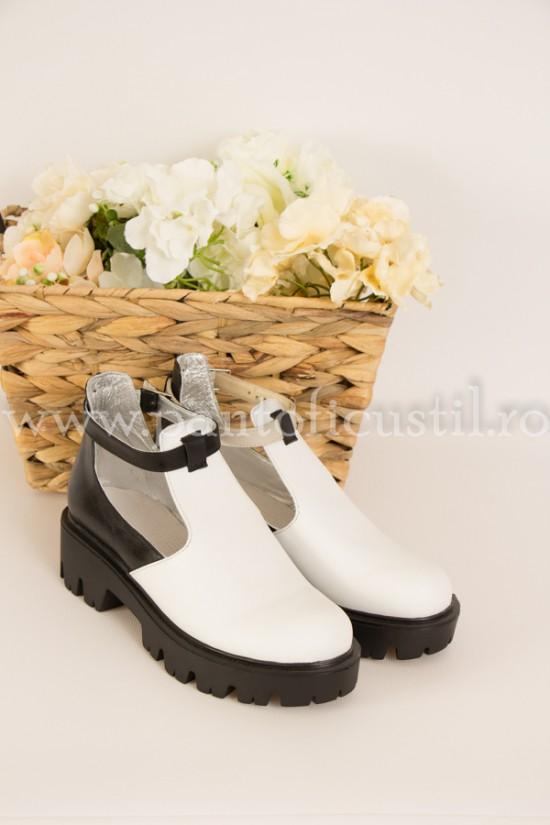 Pantofi casual din piele alb-negru cu talpa groasa