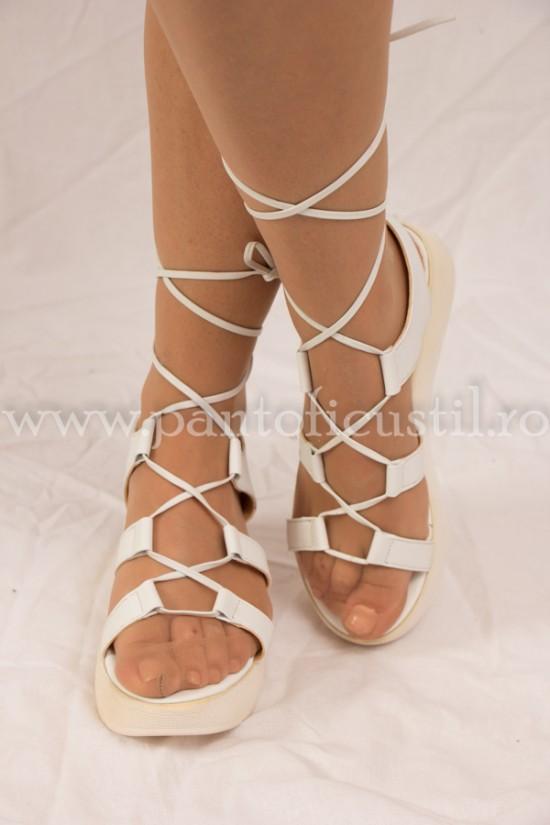 Sandale gladiator cu talpa ortopedica din piele alba