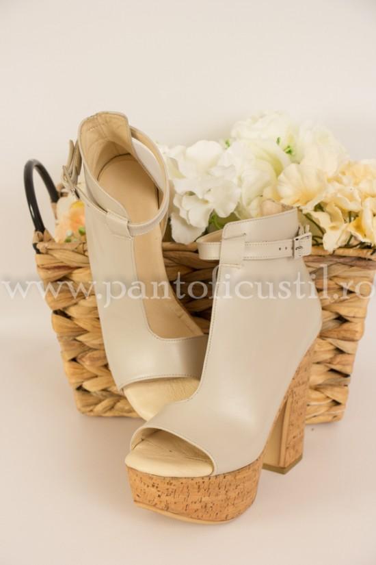 Sandale cu talpa tip pluta cu platforma si toc gros din piele gri