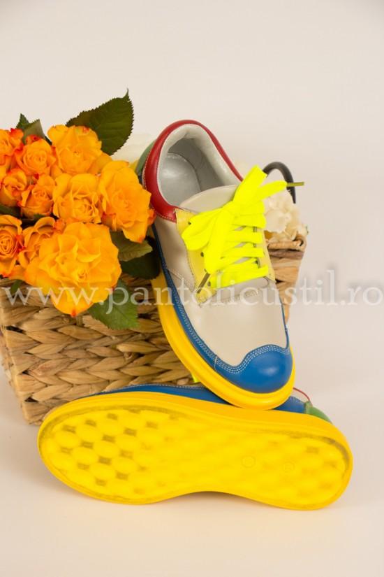 Sneakers dama din piele naturala multicolori