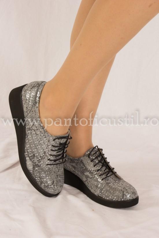 Pantofi Oxford din piele imprimeu sarpe gri