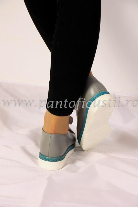 Pantofi dama sport din piele gri cu talpa tip platforma