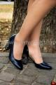 Pantofi decupati bleumarin cu toc multicolor