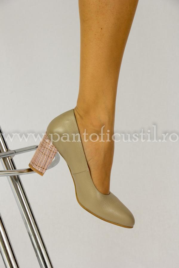 Pantofi Bej Din Piele Cu Toc De 7 Cm Piele Nude