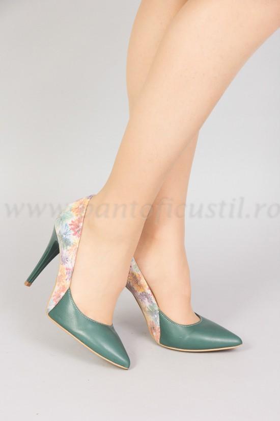 Pantofi cu toc inalt din piele multicolora