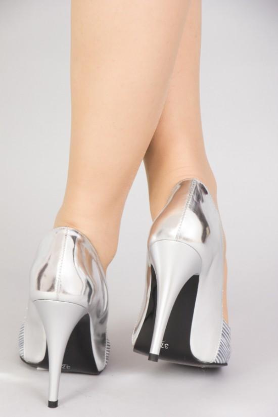 Pantofi de ocazie cu toc inalt argintii