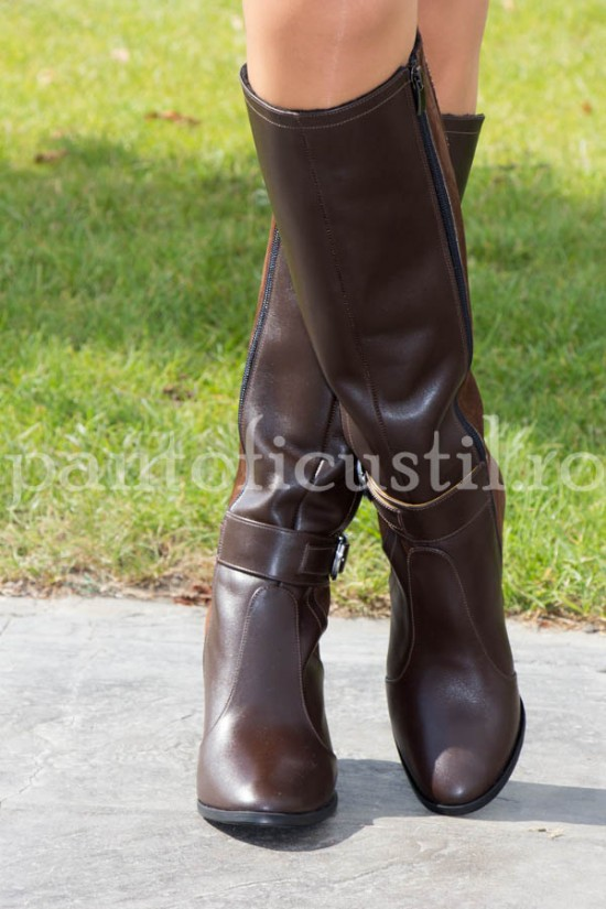 Cizme elegante din piele maro marimea 37 pentru pulpa subtire cu pret redus