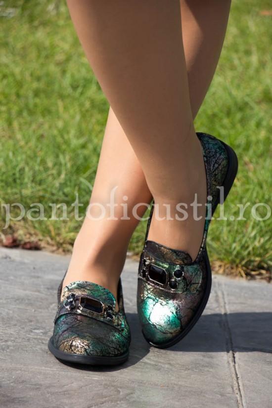 Mocasini dama din piele imprimata verde-bronz