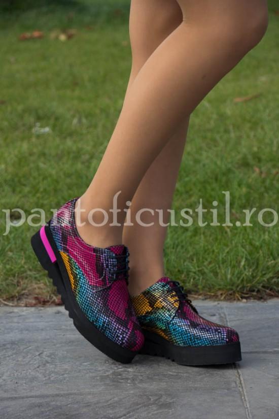 Pantofi Oxford cu platforma din piele imprimeu piton color