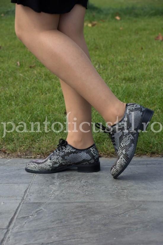 Pantofi dama Oxford din piele imprimeu sarpe