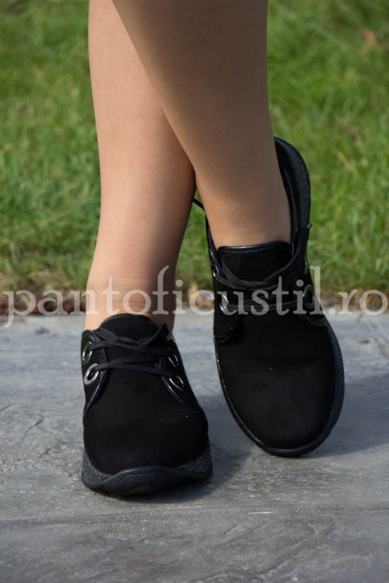 Pantofi dama sport din piele intoarsa neagra