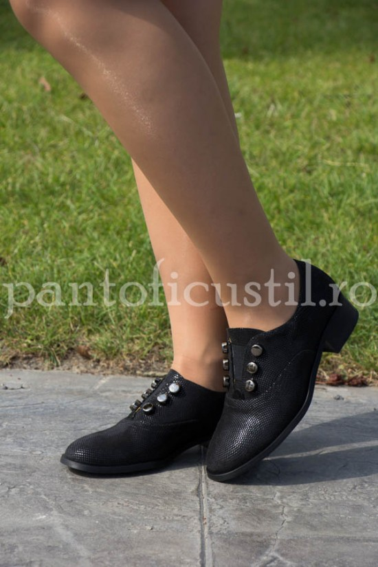 Pantofi dama tip Oxford din piele neagra