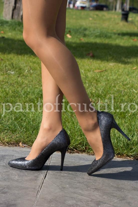 Pantofi stiletto din piele intoarsa neagra glitter