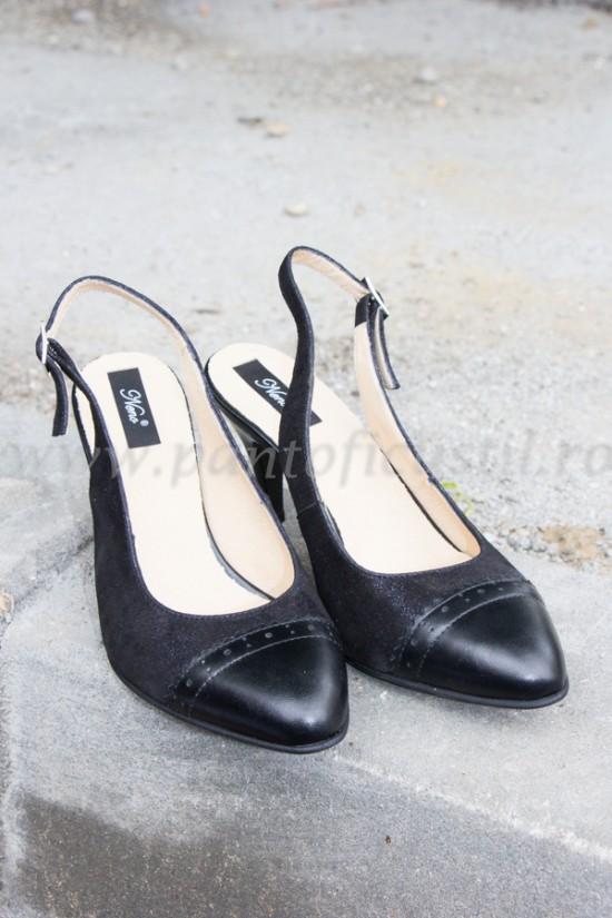 Pantofi decupati la spate din piele neagra cu pret redus