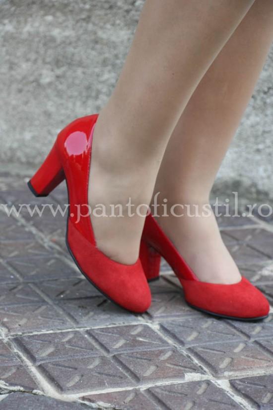 Pantofi dama comozi din piele rosie cu toc mediu