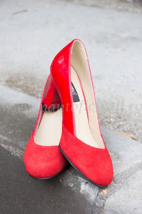 Pantofi rosii din piele marimea 36 cu pret redus