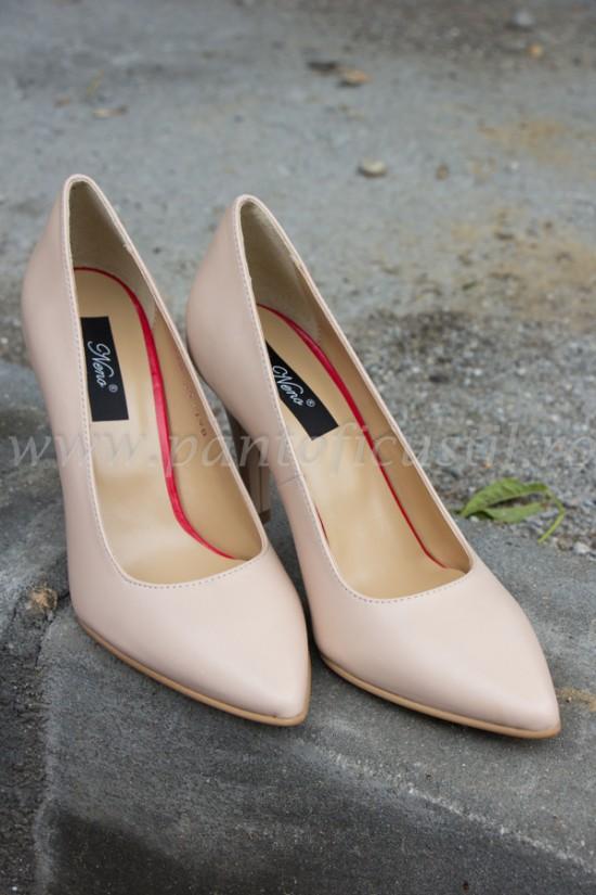 Pantofi stiletto piele nude marimea 35 cu pret redus