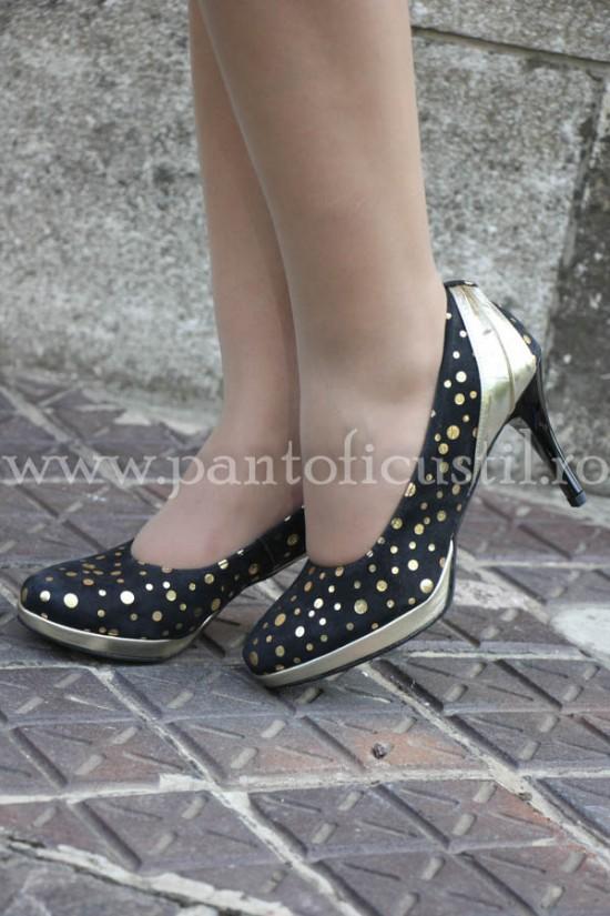 Pantofi dama de ocazie din piele imprimeu auriu cu pret redus