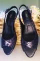 Sandale din piele bleumarin cu toc mic