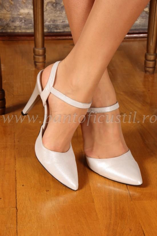 Sandale stiletto din piele bej argintiu