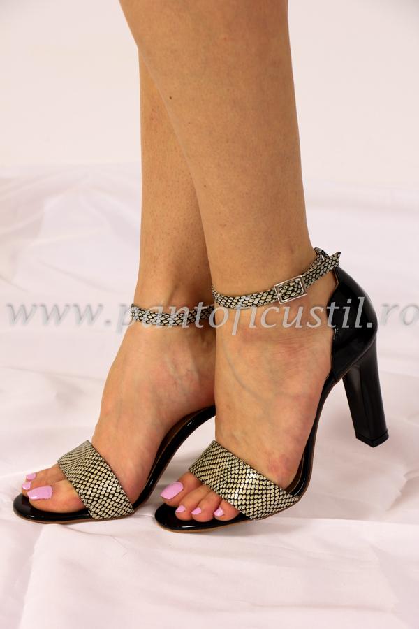 Pantofi dama, din piele eco lacuita si animal print, gri