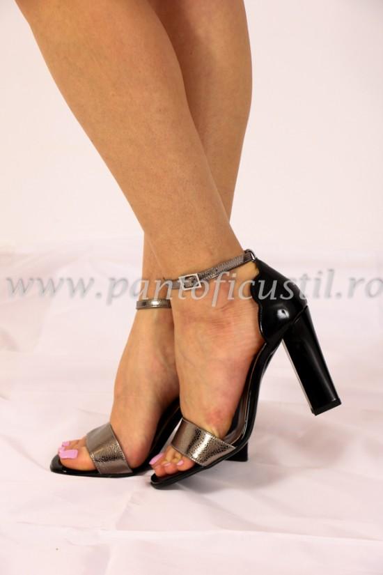 Sandale cu toc gros din piele bronz