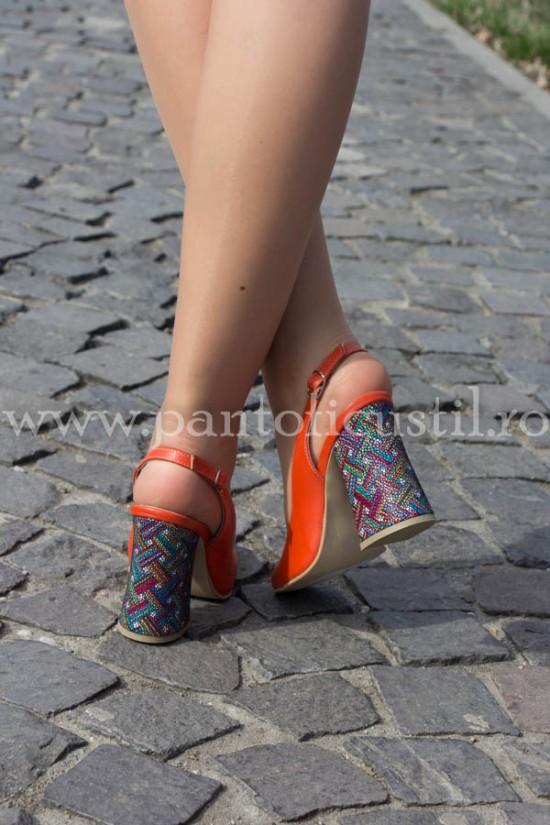 Pantofi decupati piele portocalie cu toc trapez
