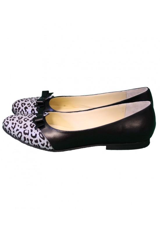 Balerini din piele naturala cu leopard print