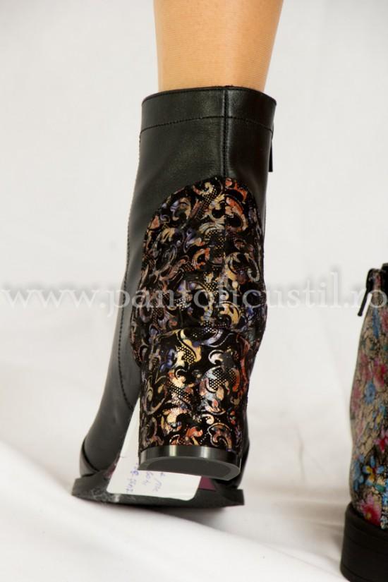 Botine comode piele negru-multicolor cu toc de 6 cm
