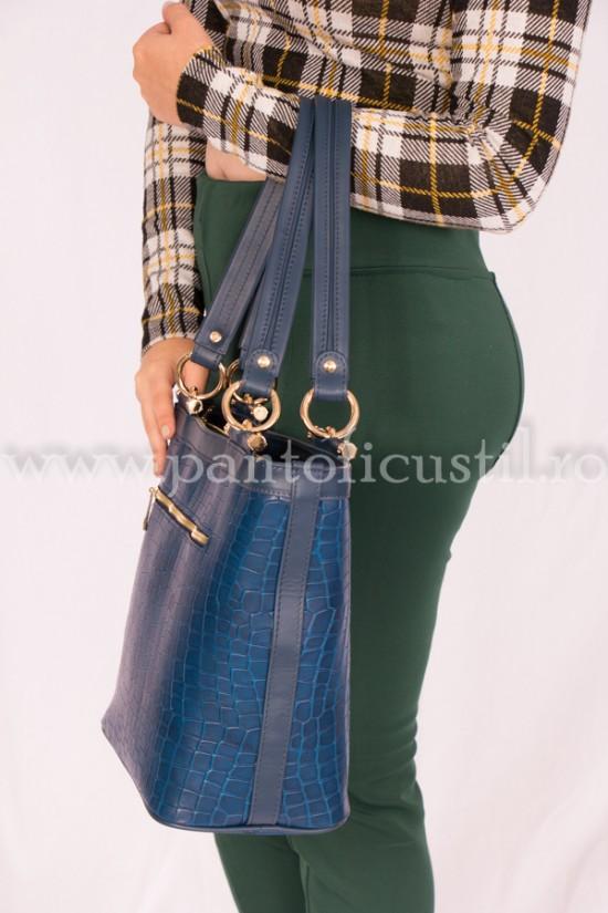 Geanta dama din piele naturala stil croco albastra