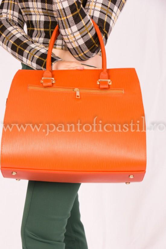 Geanta dama de mana din piele naturala portocalie