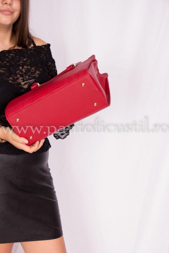 Geanta dama edin piele texturata rosie