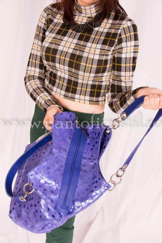 Geanta dama din piele naturala albastra stil buline