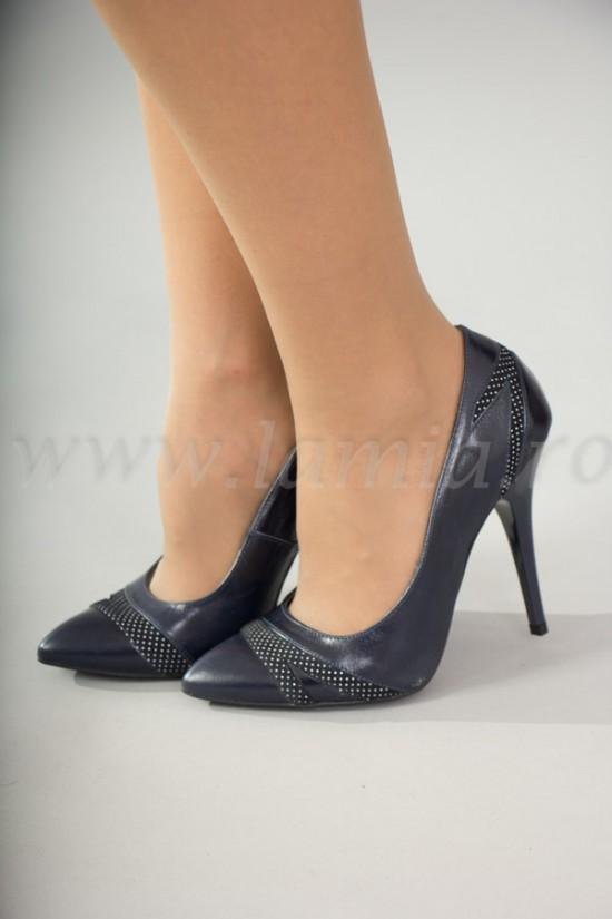 Pantofi stiletto bleumarin