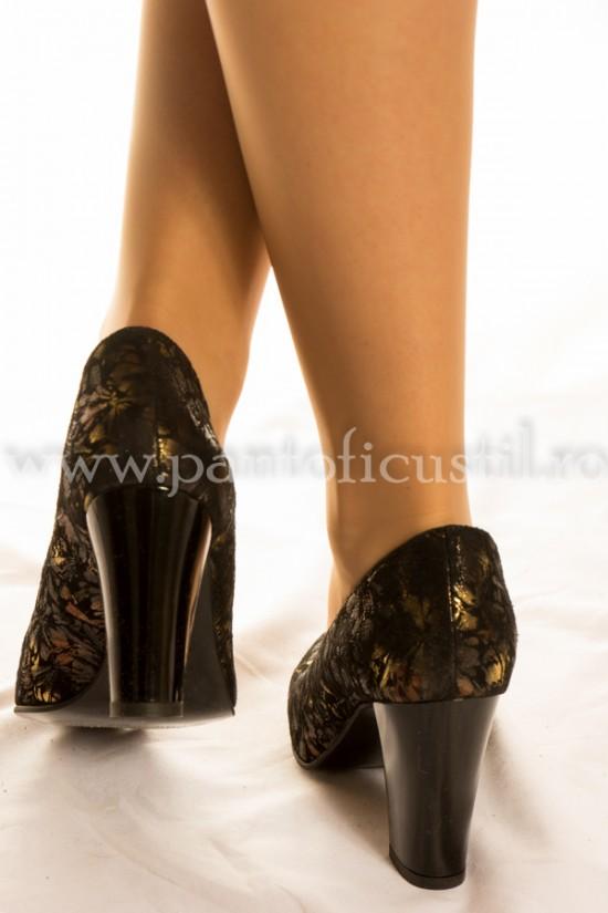 Pantofi de ocazie din piele neagra cu toc gros