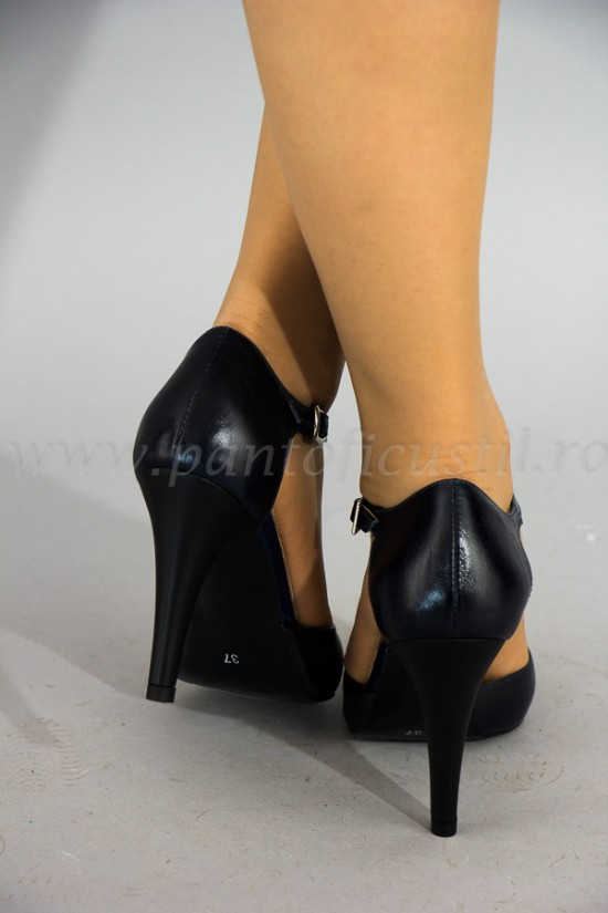 Sandale elegante din piele bleumarine cu toc stiletto