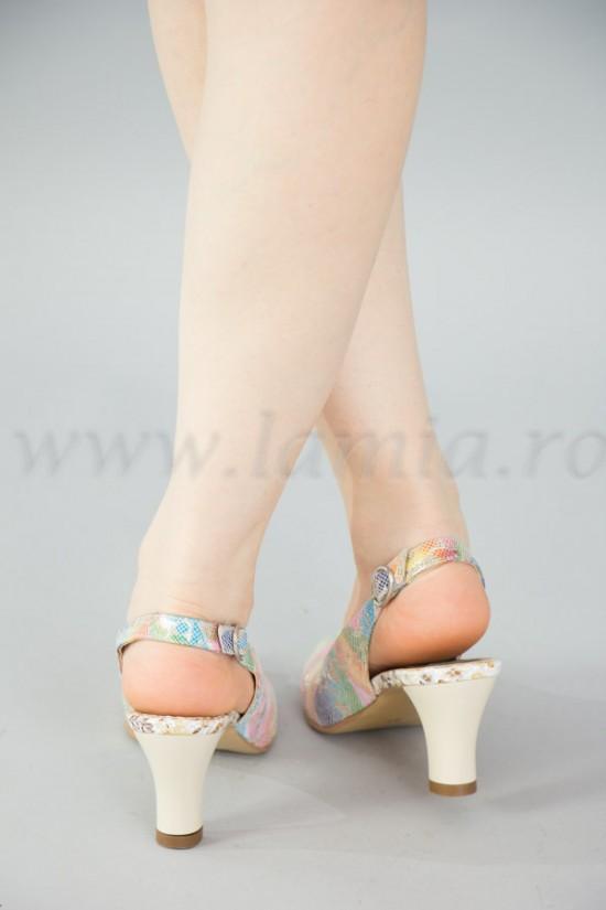 Sandale dama din piele imprimata multicolor cu toc mediu