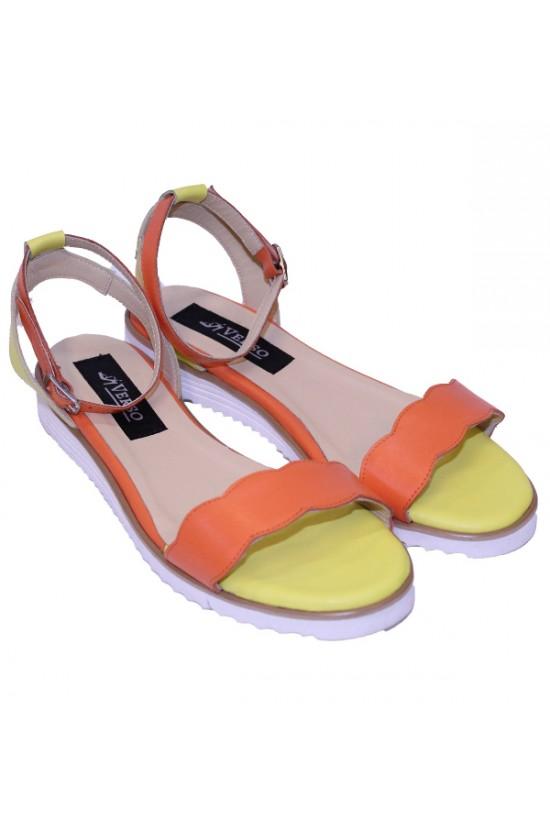 Sandale portocalii cu talpa joasa din piele
