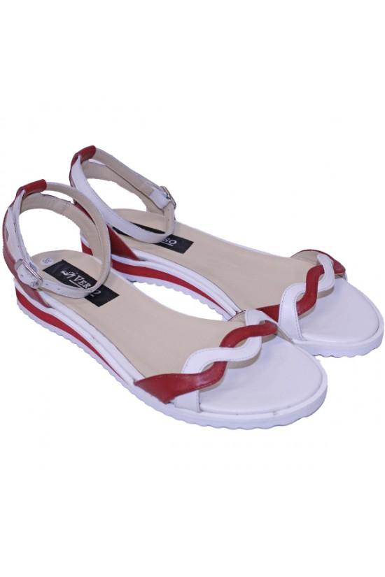 Sandale cu talpa joasa din piele alba cu detalii rosii