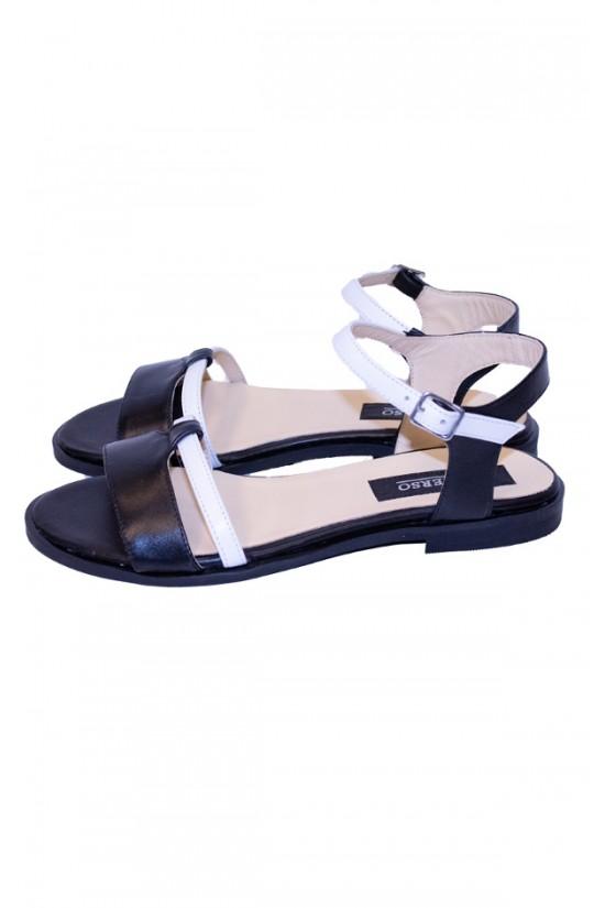 Sandale fara toc din piele naturala alb-negru