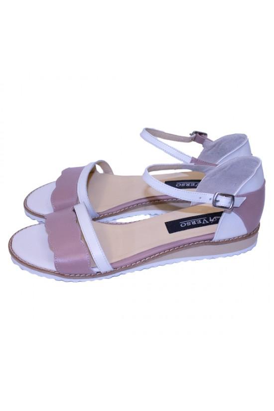 Sandale fara toc din piele naturala nude-alb